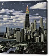 Glittering Chicago Christmas Tree Acrylic Print