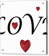 Glittery Heart Shapes And Love Word Acrylic Print