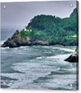 Gloomy Heceta Lighthouse  Acrylic Print by Connie Cooper-Edwards