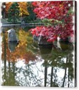 Glorious Fall Colors Reflection With Border Acrylic Print