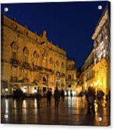 Glossy Outdoor Living Room - Passeggiata On Piazza Duomo In Syracuse Sicily Acrylic Print