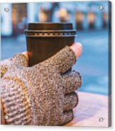 Gloved Hands Holding Coffee Cup Acrylic Print