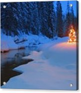 Glowing Christmas Tree By Mountain Acrylic Print by Carson Ganci