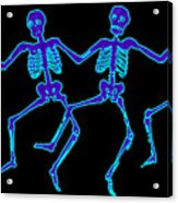 Glowing Dancing Skeletons Acrylic Print