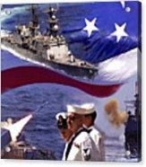 Go Navy Collage Acrylic Print