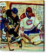 Goalie  And Hockey Art Acrylic Print