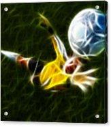 Goalkeeper In Action Acrylic Print by Pamela Johnson
