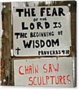 God And Saws Acrylic Print