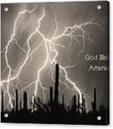 God Bless America Bw Lightning Storm In The Usa Desert Acrylic Print by James BO  Insogna