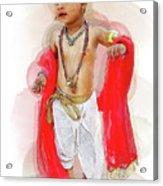 God Krishna Style Watercolor Acrylic Print