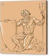 God Neptune Or Poseidon Acrylic Print by Aloysius Patrimonio