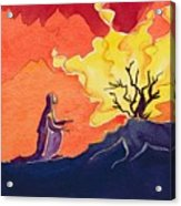 God Speaks To Moses From The Burning Bush Acrylic Print by Elizabeth Wang