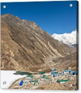 Gokyo Village And The Frozen Lake Acrylic Print