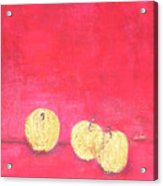 Gold Apples On Red Acrylic Print