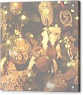 Gold Christmas Tree Decorations Acrylic Print