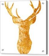 Gold Deer Silhouette Watercolor Art Print Acrylic Print