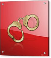 Gold Handcuffs On Red Acrylic Print