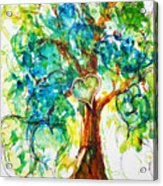 Gold Heart Valentine Tree Watercolor N Ink Acrylic Print