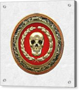 Gold Human Skull Over White Leather  Acrylic Print