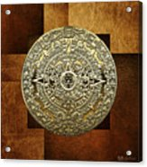 Gold Mayan-aztec Calendar On Brown Leather Acrylic Print