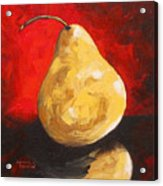 Gold Pear On Red  Acrylic Print