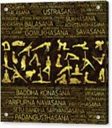 Gold Yoga Asanas / Poses Sanskrit Word Art  Acrylic Print