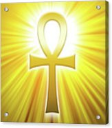Golden Ankh With Sunbeams Acrylic Print