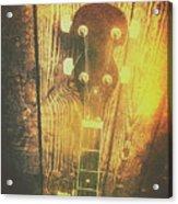 Golden Banjo Neck In Retro Folk Style Acrylic Print