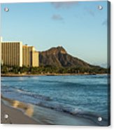 Golden Bliss On The Beach - Waikiki And Diamond Head Volcano Acrylic Print