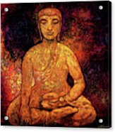 Golden Buddha Acrylic Print by Shijun Munns
