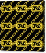 Golden Chains With Black Background Seamless Texture Acrylic Print