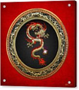 Golden Chinese Dragon Fucanglong On Red Leather  Acrylic Print