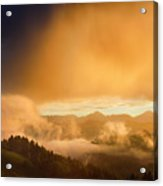 Golden Clouds And Fog At Sunrise In The Mountains Of Kamnik Savi Acrylic Print