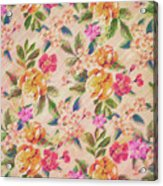 Golden Flitch Digital Vintage Retro  Glitched Pastel Flowers  Floral Design Pattern Acrylic Print