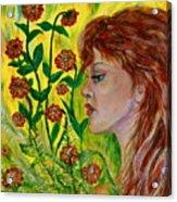 Golden Flora Acrylic Print