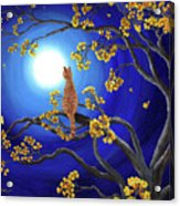 Golden Flowers In Moonlight Acrylic Print