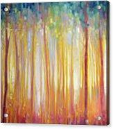 Golden Forest Hidden Unicorn - Large Original Oil Painting By Gill Bustamante Acrylic Print