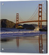 Golden Gate And Waves Acrylic Print