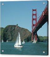 Golden Gate Bridge And Sailboats Acrylic Print