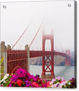 Golden Gate Bridge Flowers 2 Acrylic Print