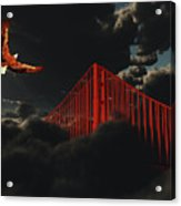 Golden Gate Bridge In Heavy Fog Clouds With Eagle Acrylic Print