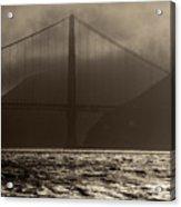 Golden Gate Bridge In The Fog, Black And White, San Francisco, California Acrylic Print