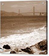 Golden Gate Bridge With Shore - Sepia Acrylic Print