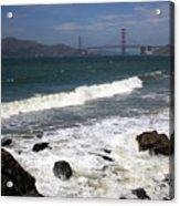 Golden Gate Bridge With Surf Acrylic Print
