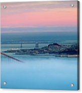 Golden Gate Foggy At Morning Acrylic Print by Mark Brodkin Photography
