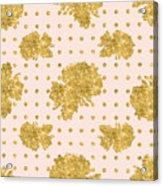Golden Gold Blush Pink Floral Rose Cluster W Dot Bedding Home Decor Acrylic Print