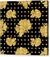 Golden Gold Floral Rose Cluster W Dot Bedding Home Decor Art Acrylic Print