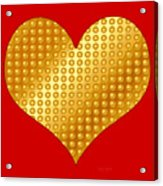 Golden Heart Red Acrylic Print
