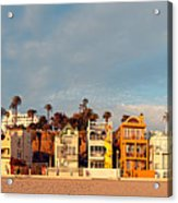 Golden Hour Panorama Of Santa Monica Condos And Bungalows - Los Angeles California Acrylic Print