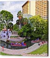 Golden Hour Shot Of Arneson River Theatre At La Villita San Antonio Riverwalk - Bexar County Texas Acrylic Print